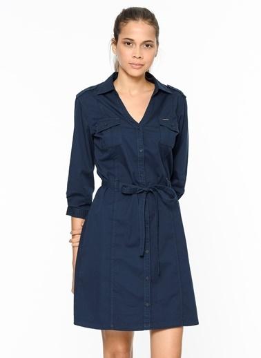 Lee Cooper V Yaka Gömlek Elbise Lacivert